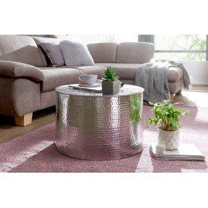 BARREL orientális design alumínium dohányzóasztal - ezüst Dohányzóasztalok