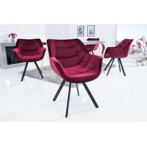 MATCH design bársony  szék - bordó Karfával