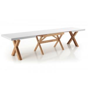 GIGANTE bővíthető tömörfa design étkezőasztal - tölgy/fehér Étkezőasztalok