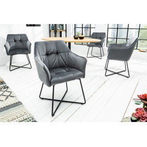 BERNARD design bársony szék - szürke Karfával