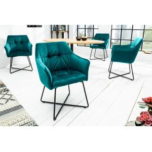 BERNARD design bársony szék - türkiz Karfával