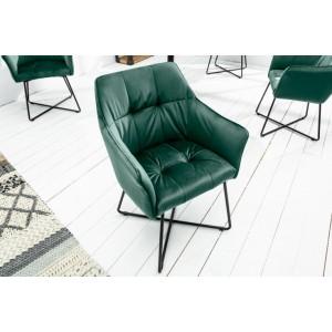 BERNARD design bársony szék - zöld Karfával