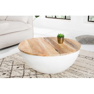 DAPHNE mangófa dohányzóasztal - fehér Dohányzóasztalok