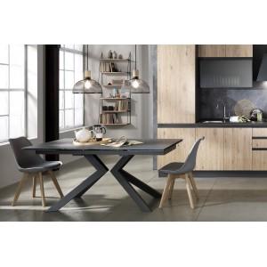 EVOLUTION bővíthető üveg design étkezőasztal kő dekorral Étkezőasztalok