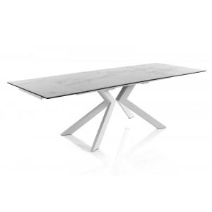 EVOLUTION bővíthető üveg design étkezőasztal márvány bevonattal Étkezőasztalok