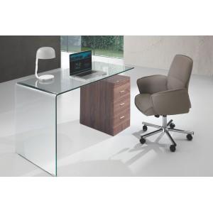 CIVITA modern üveg/dió design íróasztal Íróasztalok