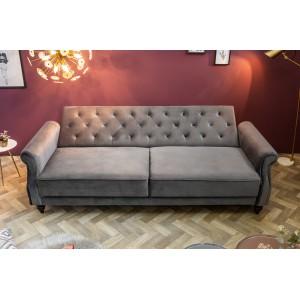 LEONARD-II design bársony kanapé - szürke - 220cm Ülőbútor