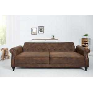 LEONARD-II design bársony kanapé - antik barna - 220cm Ülőbútor