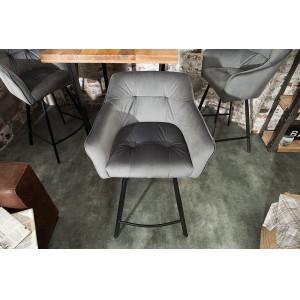BERNARD design bársony bárszék - szürke Ülőbútor