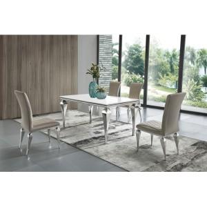 SANTOS modern üveg étkezőasztal - fehér - 150/200cm Étkezőasztalok
