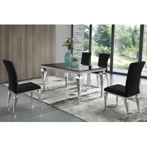 SANTOS modern üveg étkezőasztal - fekete- 150/200cm Étkezőasztalok