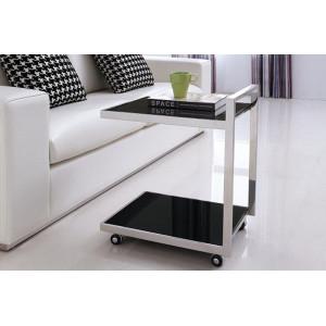 JILL görgős lerakóasztal- fekete/fehér Asztal