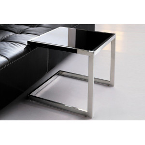 JENNA design üveg lerakóasztal - fekete/fehér Asztal