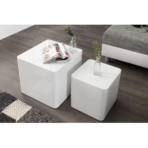 CUBICA design dohányzóasztal szett - fehér Dohányzóasztalok