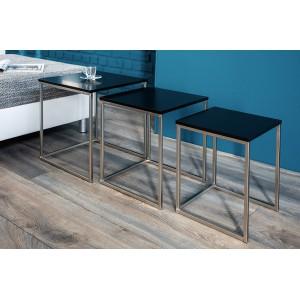 MASSIMA III modern dohányzóasztal szett - matt fekete/króm Dohányzóasztalok