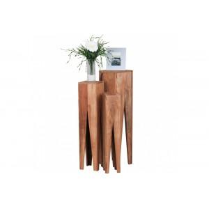 DENPASSAR tömör akácfa lerakóasztal szett Asztal