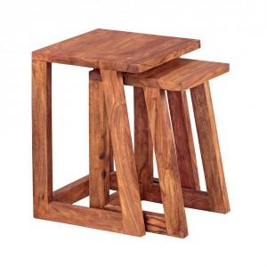KAVALI tömör rózsafa lerakóasztal szett Asztal