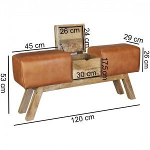 LEATHER BOX ülőpad tömör mangófa lábakkal Ülőbútor