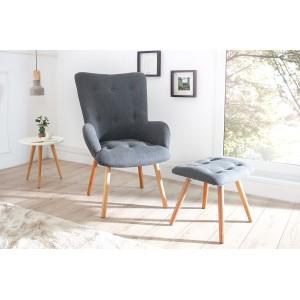 DENVER szürke design fotel lábtartóval Ülőbútor