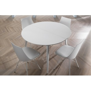 SALERNO CIRCLE magasfényű fehér bővíthető design étkezőasztal Étkezőasztalok