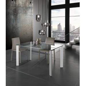 AVEZZANO üveg étkezőasztal fém lábakkal Étkezőasztalok