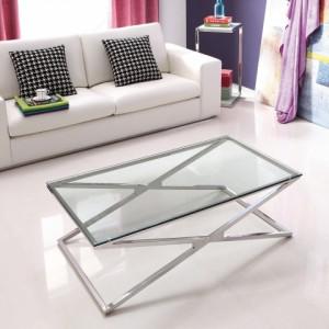 CHLOE üveg dohányzóasztal - üveg/króm Dohányzóasztalok
