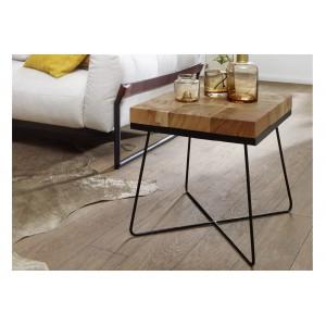 CUBE tömör akácfa/fém lerakóasztal Asztal